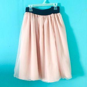 Forever 21+ Long Pink Tulle Elastic Skirt